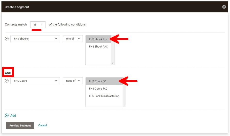 Créer un Segment MailChimp