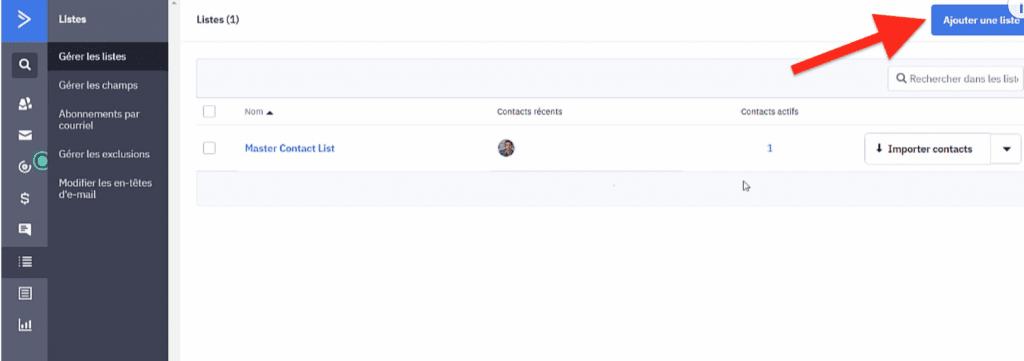 Bouton Ajouter une liste nouvelle ActiveCampaign