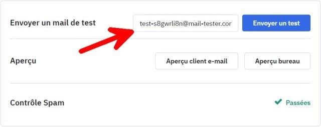 Envoyer un test de votre newsletter à mail tester