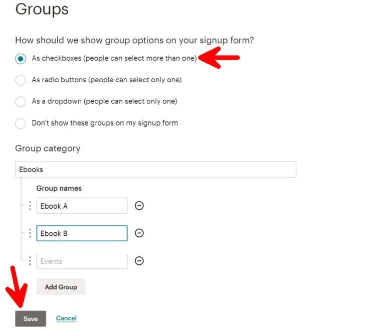 Créer un Groupe MailChimp