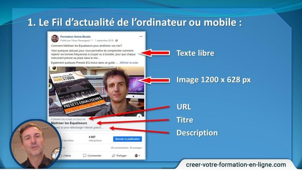 Elements d'une publicité Facebook sur fil d'actualité ordinateur et modile.