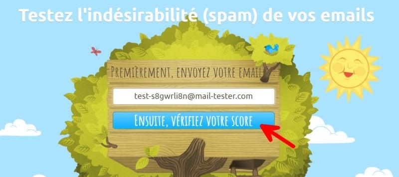 Mail Tester bouton vérifiez votre score