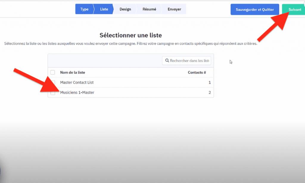 Choisir la liste sur laquelle envoyer des campagnes emailing ActiveCampaign