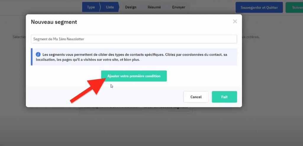 Bouton ajouter une condition à la segmentation ActiveCampaign