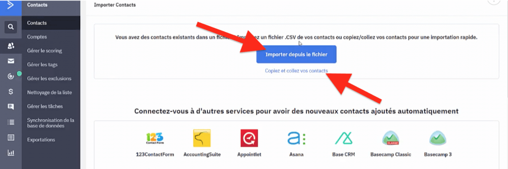 Bouton importer depuis le fichier ou copiez et collez vos contacts ActiveCampaign
