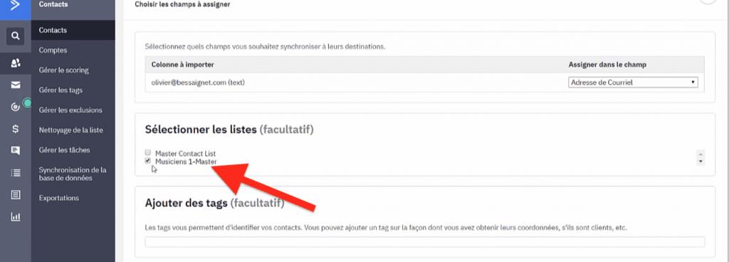 Ajout des contacts à la nouvelle liste ActiveCampaign