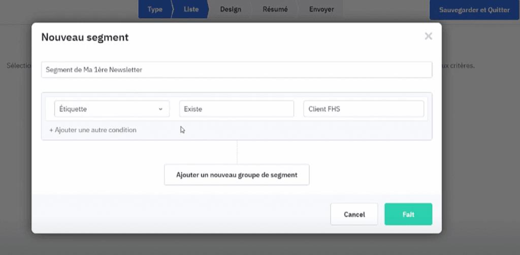 Contacts segmentés pour l'envoi de la première campagne ActiveCampaign.