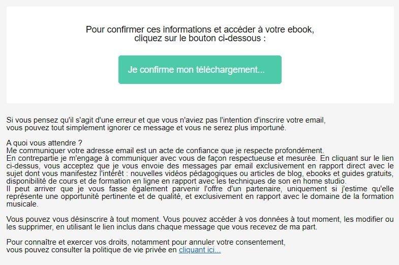 Exemple d'email de confirmation