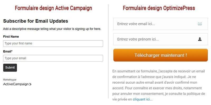 Exemples design formulaire email avec Active Campaign et OptimizePress