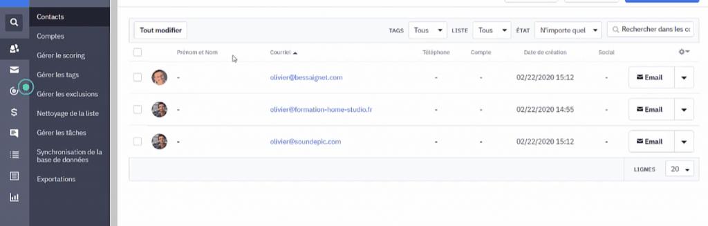 La liste de vos contacts ActiveCampaign