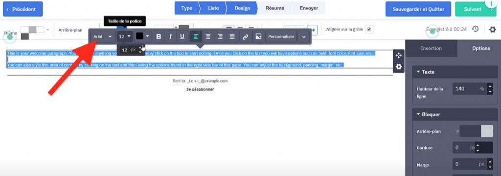 Choix de la taille et de la police du texte pour la première newsletter ActiveCampaign