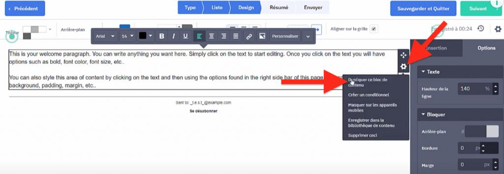 Dupliquer un bloc de texte