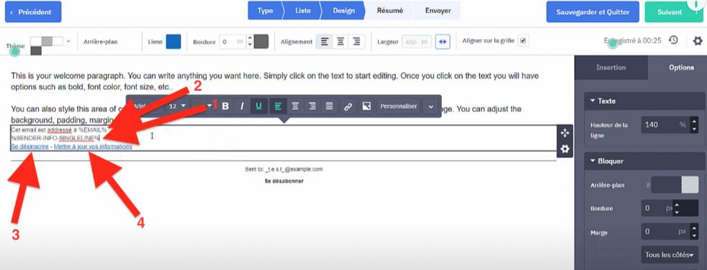 Récapitulatif des paramètres personnalisés dans la signature d'une newsletter ActiveCampaign