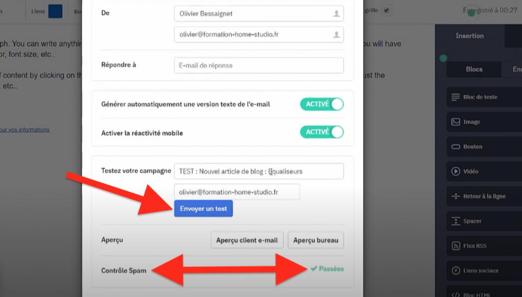 Email test et Contrôle Spam ActiveCampaign
