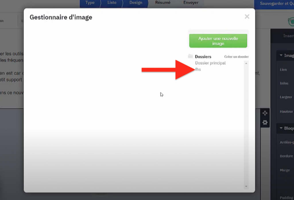 Choisir le dossier image ActiveCampaign