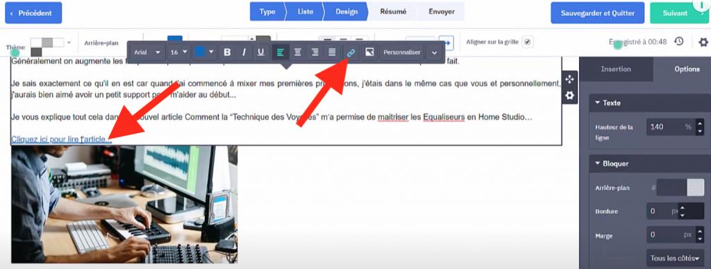 Ajout de lien url dans l'emailing ActiveCampaign