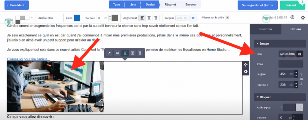 Lien sur une image dans email marketing ActiveCampaign