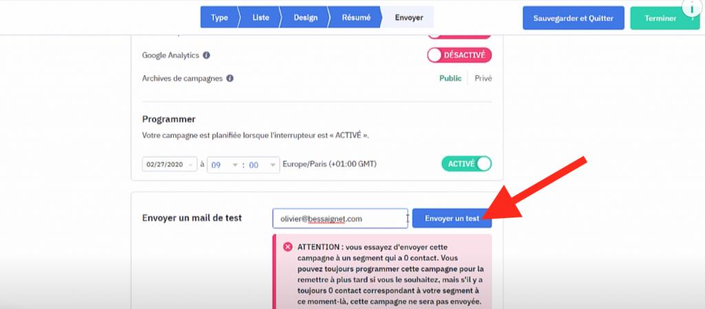 Bouton Envoyer un test d'emailing ActiveCampaign